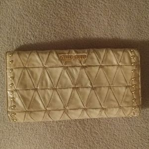Miu miu beige gold matelasse leather wallet clutch